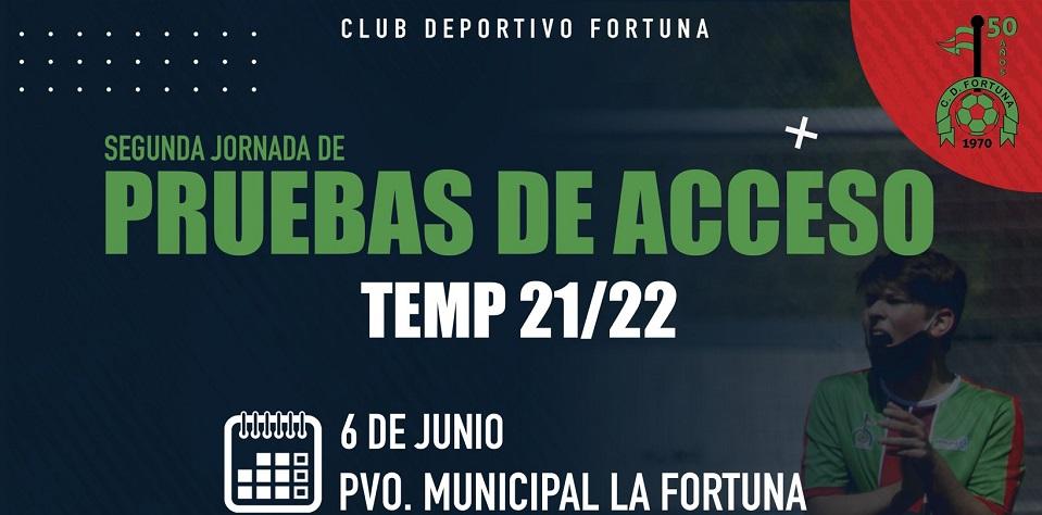 COMUNICADO OFICIAL| 2º Jornada de Pruebas de Acceso del CD Fortuna Temporada 2021/22